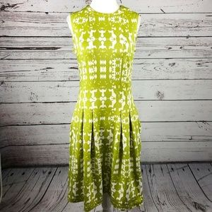 Julian Taylor NY Lime Green Ikat Print Dress